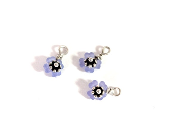 Tiny purple flower charm ready made components for for Gemsprouts tiny plant jewelry