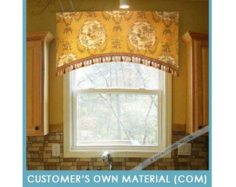 "Customer's Own Material (COM) - Arched Rod Pocket Valance, 35 to 48"" Wide"