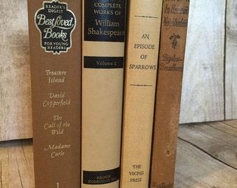 Cream Beige Brown Decorative Vintage Books