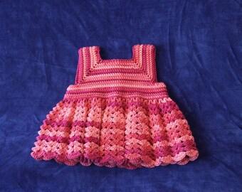 Crochet Baby Dress,  3-6 Months,  Baby Dress, Crocheted Baby Dress