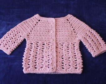 Crochet Baby Sweater, 12 Month,  Baby Sweater, Crocheted, Pink