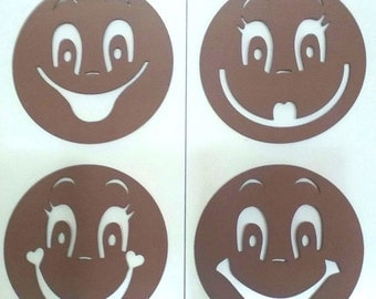 Templates of rubber eva to paint faces of fofuchas, 4 models. MOD4