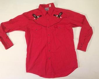 vintage western shirt / Mens western button up / Western Eagle shirt / rockabilly shirt