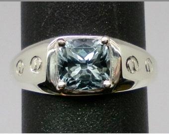 14k Aquamarine Men's Ring, FREE SIZING