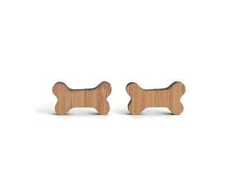 Bone cufflinks, wood bone cuff links, bone shape cufflinks, wood cufflinks, eco friendly cufflinks, men jewelry, laser cut cufflinks, bones