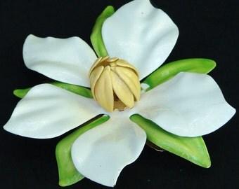 Large 1960's or 1970's Vintage Enamel Floral Brooch or Pin Magnolia Blossom