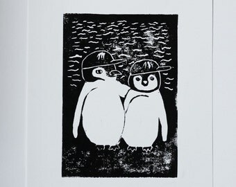 Brothers, linocut print