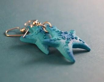 Dangle earrings, starfish, polymer clay earrings, nautical earrings, starfish earrings