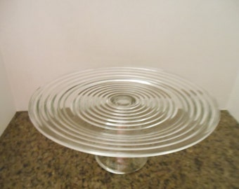 Vintage Clear Glass Cake Stand/ W/Ribbed Top