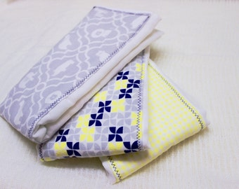 Baby Burp Cloths - set of 3; Navy, Grey and Yellow
