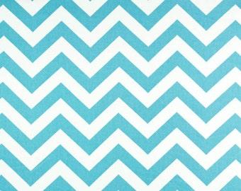 Girly Blue Chevron Crib Rail Cover | Bumperless Crib Bedding