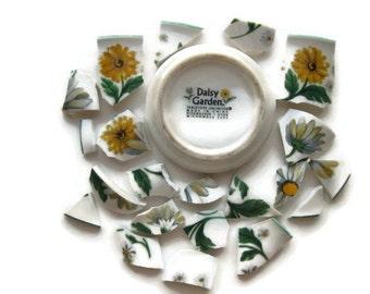 Little Daisies- Mosaic Tiles-1 Plate Back- Daisy Garden- Hand cut Tiles- Broken Plate- 21 pieces- #138
