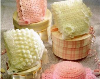 Crochet pattern Baby bonnet hat PDF Instant Download Nr.19