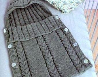 Knitting Pattern Baby Aran Sleeping Bag Hooded sack cocoon PDF Instant download Nr.29