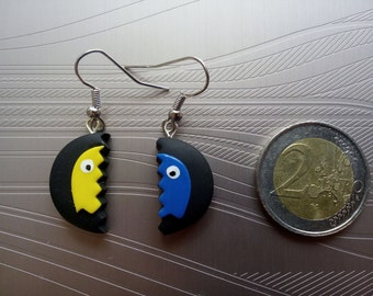 Earrings ghost Pac - Man Blaune