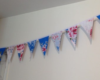 Bunting, home decor, party, wedding, anniversary, birthday garland, wall art banner, blue, red and pink patchwork design fabric.