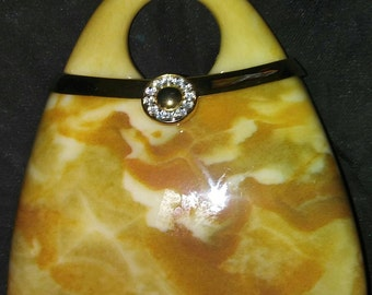 Vintage 1950's Another Y & S original hard Gold Marble-Look Evening bag