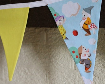 Fabric 7 flag banner, wall decor, disney, snow white