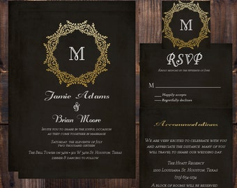 Black and Gold Wedding Invitation Suite- Wedding Invitation, RSVP Card, Accommodation Card, Digital Wedding Invitation Suite