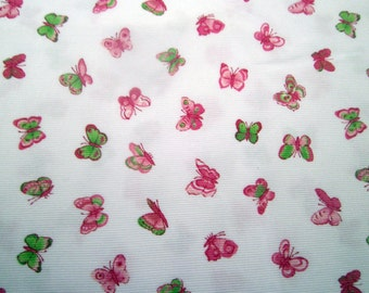 "Butterfly Pique Fabric, Fabric Finders, 100% Cotton Fabric, Sewing Fabric, Apparel Fabric, Butterflys, Pink and Green, 1 yard cut,60"" wide"