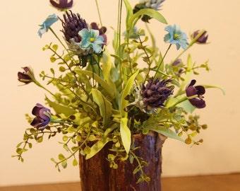 Silk Wildflower Arrangement in Cedar Bark Container