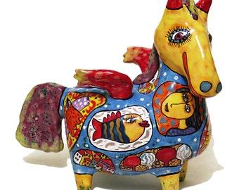 Pegasus, ceramic horse, horse pegasus, statue pegasus, figure pegasus, clay pegasus, ceramic pegasus, big pegasus, painted pottery, clay art