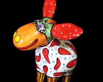 Donkey figurine ceramic art, donkey sculpture, art donkey, miniature donkey