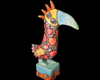 Bird in apples, Big bird, gifts for bird lovers,  bird figurine, best gift idea, colorful birds, bright bird, parrot, hoopoe, beautiful bird