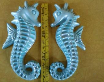 Pacific blue chalkware seahorse pair
