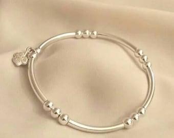 Sterling Silver Tube & 3mm Beaded Bracelet