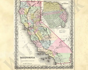 Old vintage map of California from 1857 with San Francisco insert - Vintage U.S. Atlas Map - Printable Download