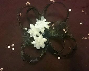 Handmade Black Fascinator with White Flowers