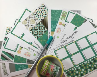 St. Patrick's Day Green ECLP Weekly Kit Mambi Happy Planner Stickers Girly Check Lists Daily Boxes