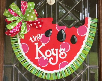 Watermelon door hanger Summer door hanger Watermelon wreath Summer wreath