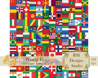 World Flags, Digital Paper, SALE, Background, Icon, International, Europe, Asia, America, Africa, Backdrop, Illustration, CL0057