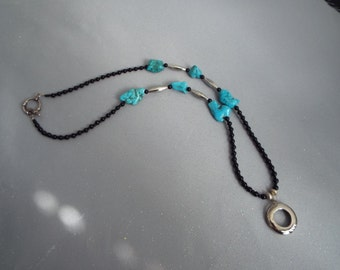 Turquoise and Sterling Silver Eyeglass Necklace