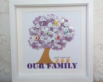 Button Family Tree, Personalised Family Tree, Button Art, Box Frame
