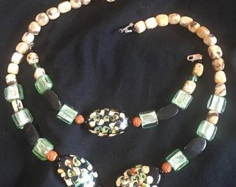 Glass bead neckalace and matching braclet