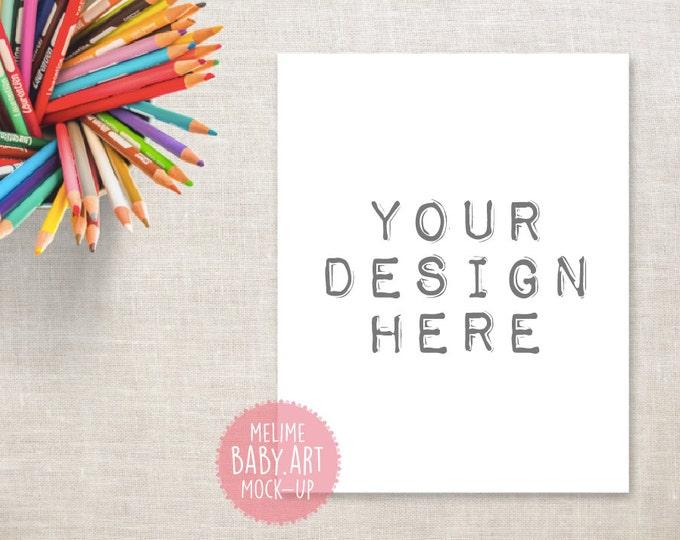 8x10 Art Print Mockup, Crayons desk Mockup, Styled Photography Mock Up, Kids Print Mockup, Colorful Pencils Photography (1.Crayons)