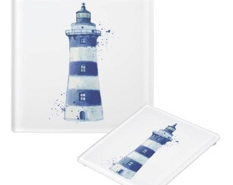 Seaside decor coasters, glass coasters, Anchor, Lighthouse, Sea Bird, Ships Wheel, Nautical Seaside Coasters