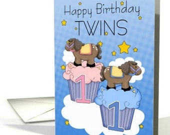 1st Birthday, Twins First Birthday Card - Two Little Ponies on Cupcakes card - Little rocking horses, blue rocking horse, pink rocking horse