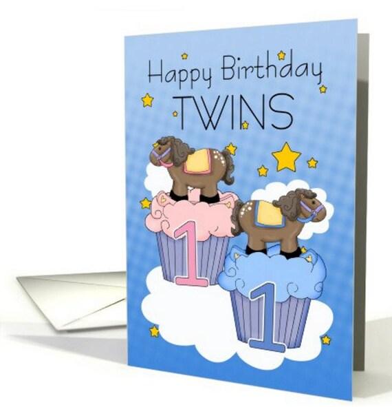 Amato 1 compleanno gemelli prima cartolina di compleanno due DI25