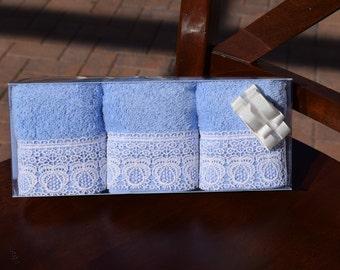 Cotton & More Handmade Turkish Square Light Blue Hand Towel