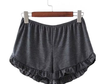 Gray Ruffle Handmade Shorts // Beach // Womens Clothing
