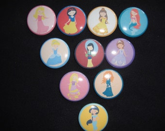 Disney Princess Inspired Buttons Set of 10