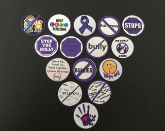 Stop Bullying Buttons Set of 15