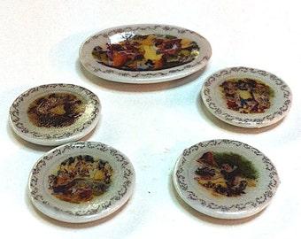 Miniature set of 5 Children's Snow White plates (CER048)