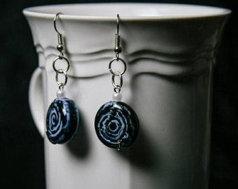 Ceramic blue earrings