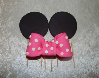 Minnie Inspired Ears and Bow Cake Toppers