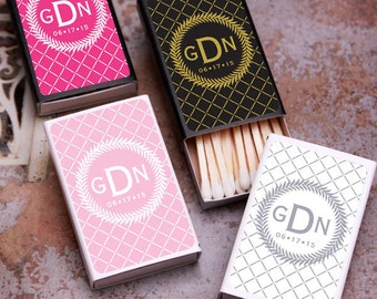 50 pcs Monogram Personalized Matchboxes with Stickers (PPD-JM22203)